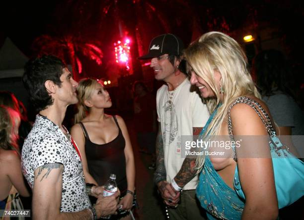 Musician Perry Farrell Etty Farrell and drummer Tommy Lee backstage during day 3 of the Coachella Music Festival held at the Empire Polo Field on...