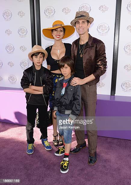Musician Perry Farrell wife Etty Lau Farrell and children Izzadore Bravo Farrell and Hezron Wolfgang Farrell attend the 30th Annual Breeders' Cup...