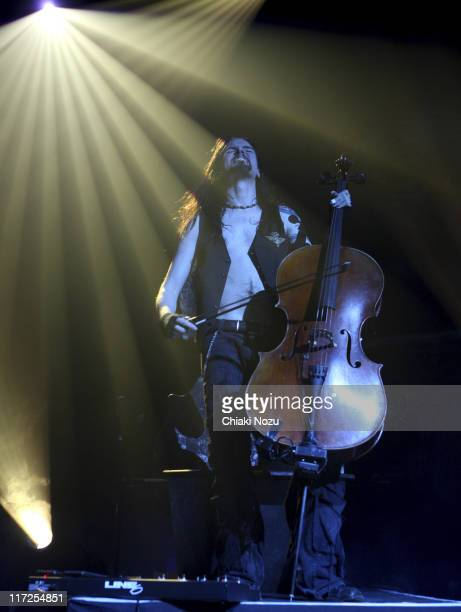 Musician Perttu Kivilaakso of Apocalyptica performs in concert at Astoria on December 11 2007 in London England The Finnish cello metal group...