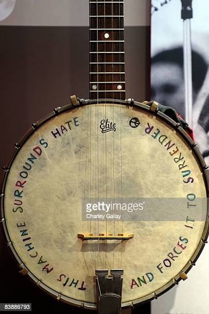 Musician Pete Seeger's banjo is seen at the GRAMMY Museum preview day at the GRAMMY Museum at Nokia Plaza at LA Live on December 2 2008 in Los...