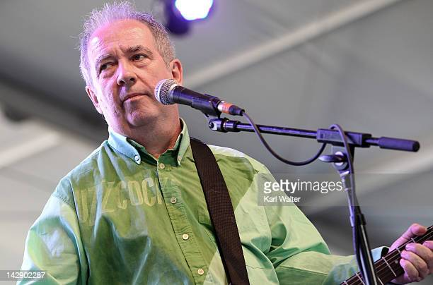 Musician Pete Shelley of Buzzcocks perform onstage during day 2 of the 2012 Coachella Valley Music Arts Festival at the Empire Polo Field on April 14...