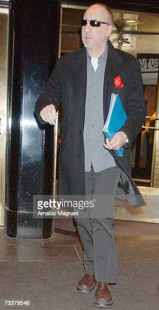 Musician Pete Townshend exits a hotel February 20, 2007 in New York City.