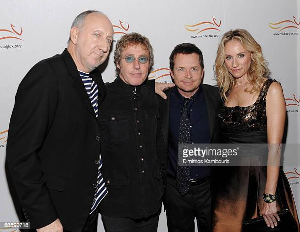 Musician Pete Townshend musician Roger Daltrey Michael J Fox and Tracy Pollan attend A Funny Thing Happened on the Way to Cure Parkinson's 2008...