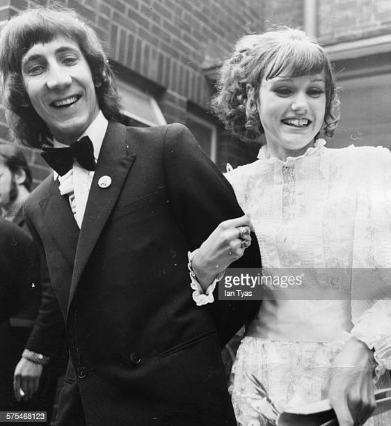 Musician Pete Townshend, of the rock band 'The Who', pictured with his bride Karen Astley on their wedding day, outside Didcot Registry Office,...