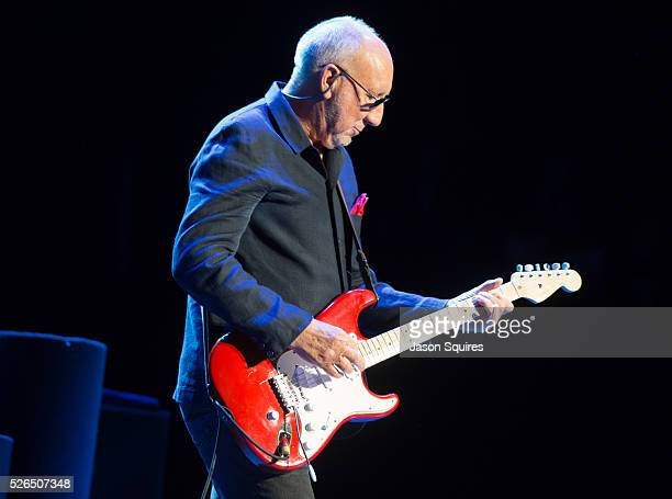 Musician Pete Townshend of The Who performs at Sprint Center on April 29, 2016 in Kansas City, Missouri.