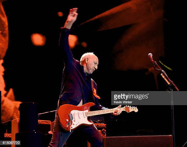 Musician Pete Townshend of The Who performs during Desert Trip at the Empire Polo Field on October 16 2016 in Indio California
