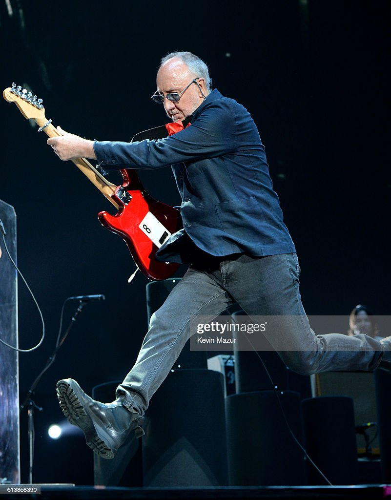 Musician Pete Townshend of The Who performs onstage during Desert Trip at The Empire Polo Club on October 9, 2016 in Indio, California.