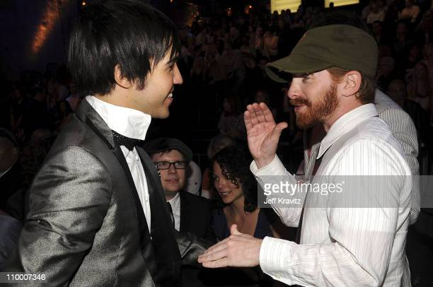 Musician Pete Wentz and Actor Seth Green at the 2008 MTV Video Music Awards at Paramount Pictures Studios on September 7 2008 in Los Angeles...