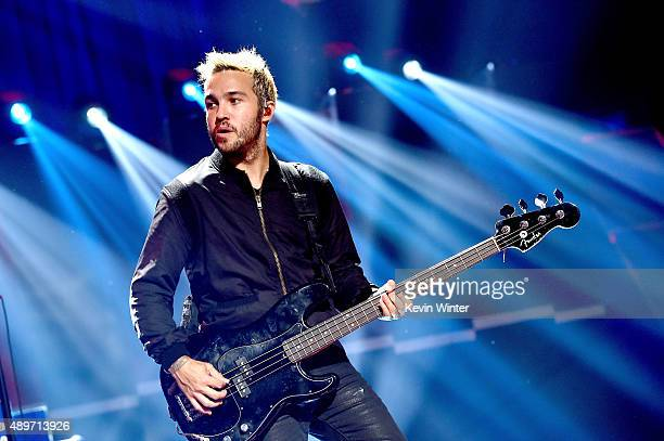 Musician Pete Wentz of Fall Out Boy performs at the 2015 iHeartRadio Music Festival at the MGM Grand Garden Arena on September 19 2015 in Las Vegas...