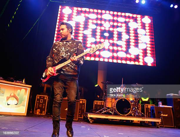 Musician Pete Wentz of Fall Out Boy performs during the Perez Hilton Music Showcase 2013 SXSW Music Film Interactive Festival at Austin Music Hall on...