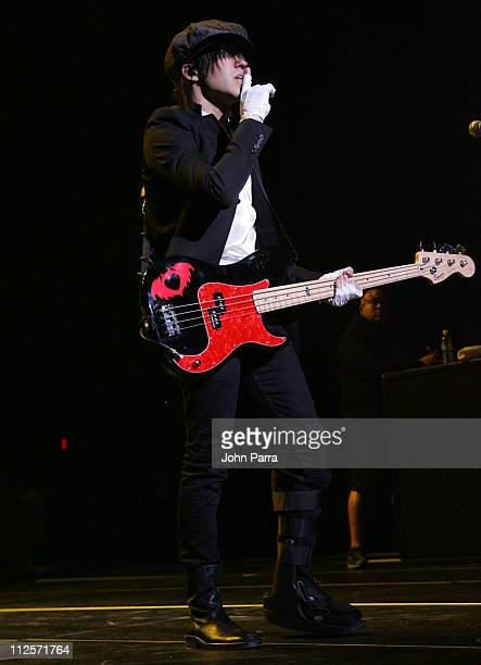 Musician Pete Wentz of Fall Out Boy performs on Halloween Night at Fillmore Miami Beach at the Jackie Gleason Theater on October 31 2007 in Miami...