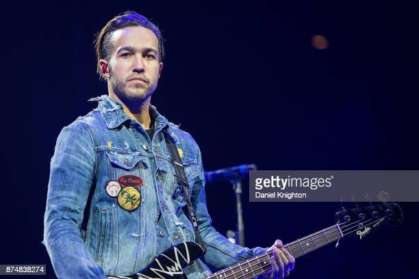 Musician Pete Wentz of Fall Out Boy performs on stage at Viejas Arena on November 15 2017 in San Diego California