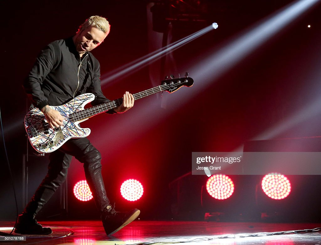 Musician Pete Wentz of Fall Out Boy performs onstage during 106.7 KROQ Almost Acoustic Christmas 2015 at The Forum on December 13, 2015 in Los Angeles, California.