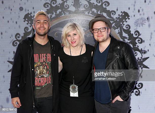 Musician Pete Wentz of Fall Out Boy radio personality Kat Corbett and musician Patrick Stump of Fall Out Boy attend 1067 KROQ Almost Acoustic...