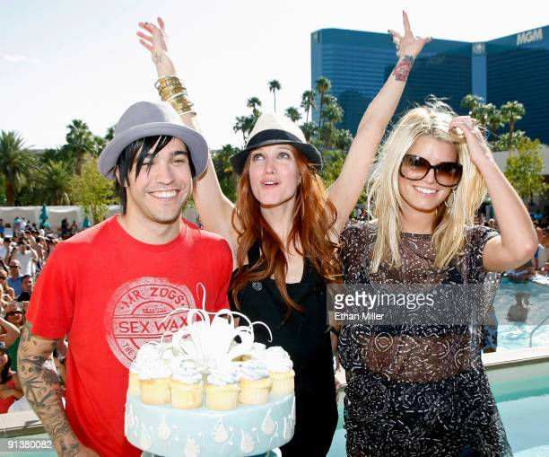 Musician Pete Wentz singer Ashlee SimpsonWentz and sister singer Jessica Simpson appear at the Wet Republic pool at the MGM Grand Hotel/Casino to...