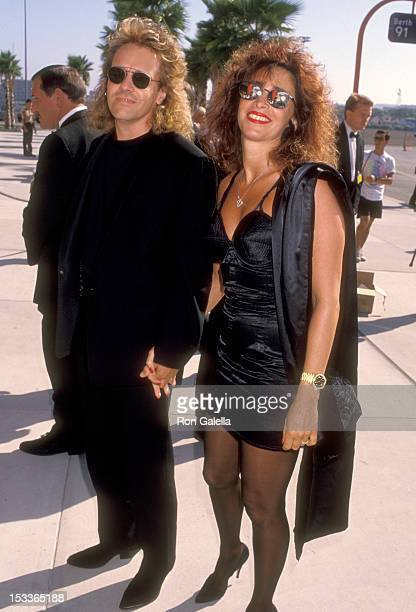 Musician Peter Frampton and wife Barbara Gold attend The Neil Bogart Memorial Fund Benefit Gala on July 21 1990 Aboard the Crystal Cruise Lines in...