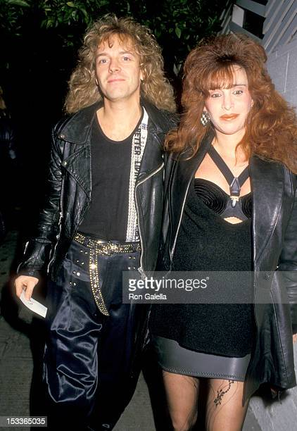 Musician Peter Frampton and wife Barbara Gold on January 15 1988 dine at Spago in West Hollywood California