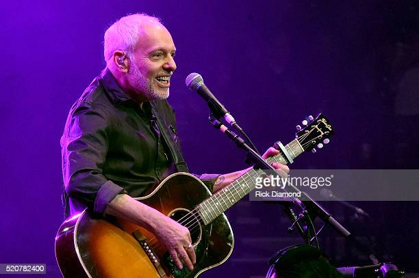 Musician Peter Frampton performs onstage during All For The Hall at the Bridgestone Arena on April 12 2016 in Nashville Tennessee