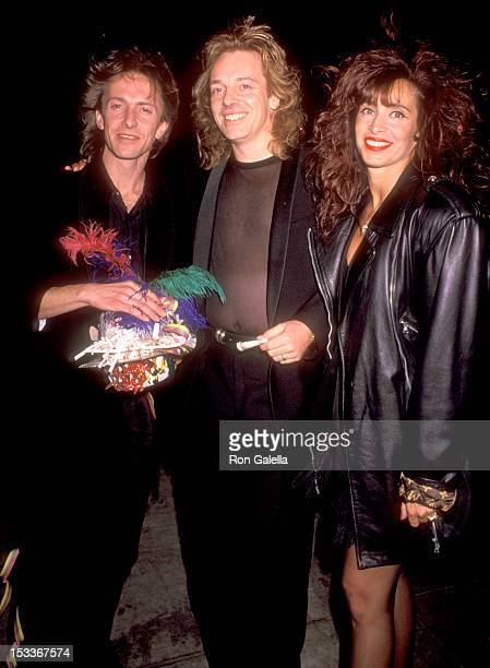 Musician Peter Frampton wife Barbara Gold and his brother Clive Frampton attend the Spago's Private New Year's Eve Party on December 31 1990 at Spago...