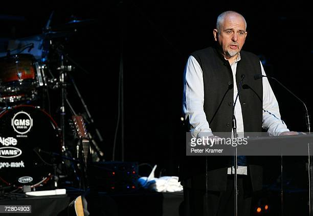Musician Peter Gabriel speaks at the second annual gala dinner and concert to benefit Witness which helps promote human rights causes worldwide...