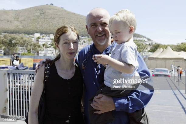 Musician Peter Gabriel with wife Meabh and son Isaac backstage during rehearsals for the 46664 Give One Minute of Your Life to Aids concert at...