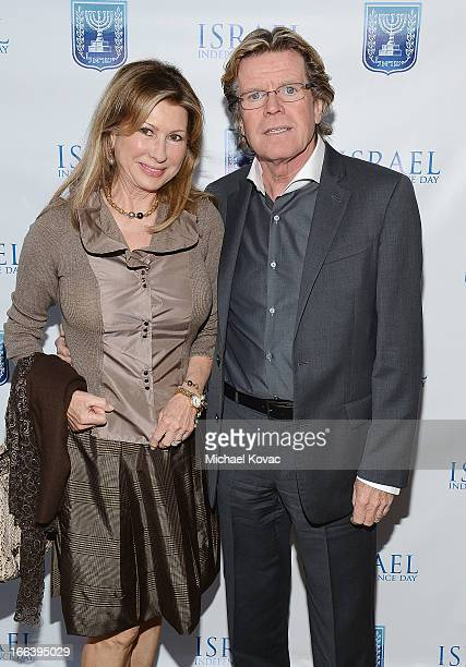 Musician Peter Noone and wife Mireille Strasser arrive at The Israeli Consulate Celebrates Israel's 65th Independence Day at Nobu Malibu on April 11...