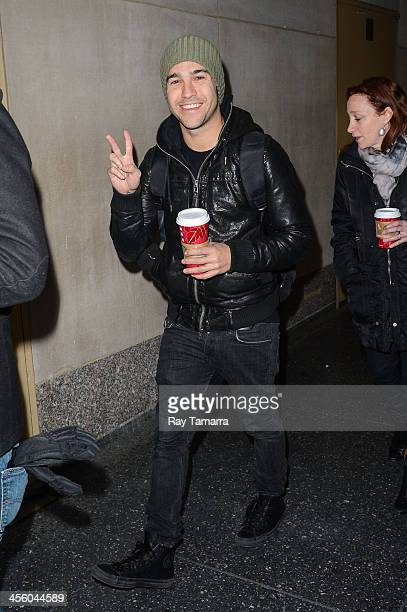 Musician Peter Wentz leaves the 'Today Show' taping at the NBC Rockefeller Center Studios on December 13 2013 in New York City