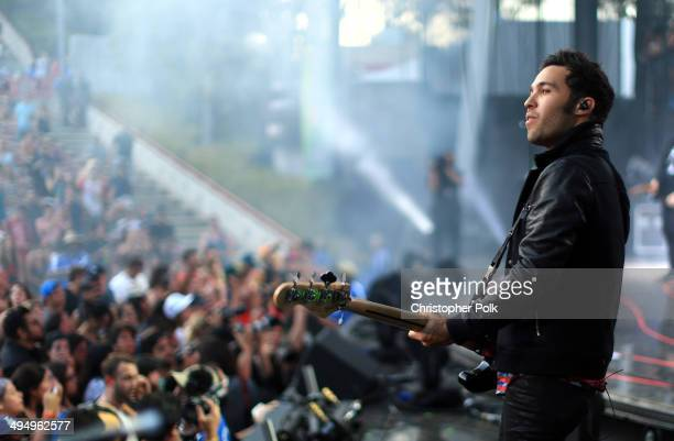 Musician Peter Wentz of Fall Out Boy performs onstage during the 22nd Annual KROQ Weenie Roast at Verizon Wireless Music Center on May 31 2014 in...