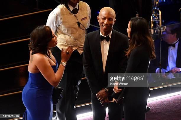 Musician Pharrell Williams and Helen Lasichanh in the audience during the 88th Annual Academy Awards at the Dolby Theatre on February 28 2016 in...