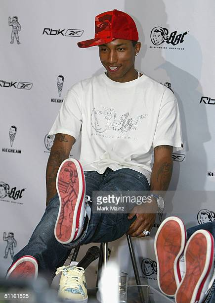 Musician Pharrell Williams attends the press conference launching 'Reebok's Billionaire Boys Club apparel line and Ice Cream footwear collection' at...
