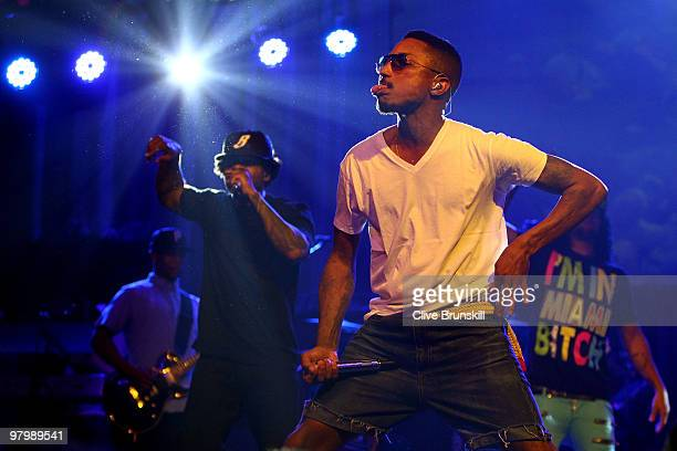 Musician Pharrell Williams performs at the Sony Ericsson Open KickOff party at LIV nightclub at Fontainebleau Miami on March 23 2010 in Miami Beach...