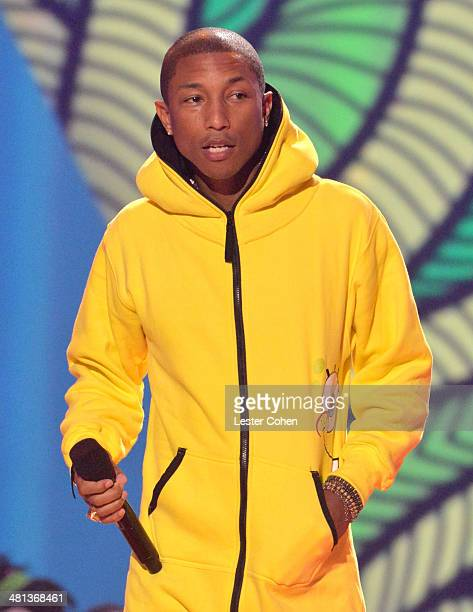 Musician Pharrell Williams speaks onstage during Nickelodeon's 27th Annual Kids' Choice Awards held at USC Galen Center on March 29 2014 in Los...