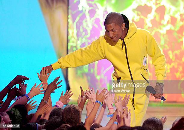 Musician Pharrell Williams walks onstage during Nickelodeon's 27th Annual Kids' Choice Awards held at USC Galen Center on March 29 2014 in Los...