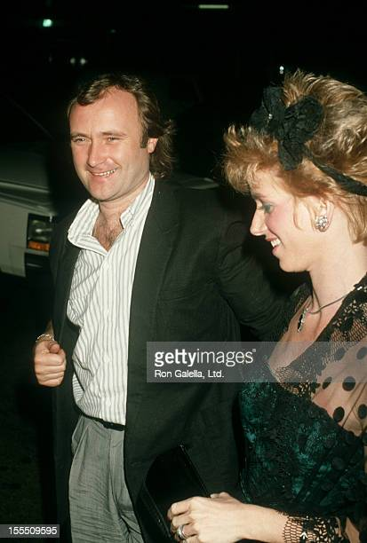 Musician Phil Collin and wife Jill Tavelman attending Atlantic Records Party on February 25 1986 at Mr Chow's Restaurant in Los Angeles California