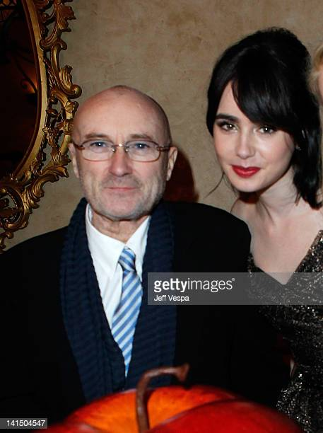 Musician Phil Collins and actress Lily Collins attend the after party for the 'Mirror Mirror' premiere at the Roosevelt hotel on March 17 2012 in...
