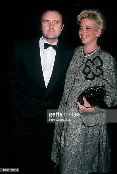 Musician Phil Collins and wife Jill Tavelman attending 46th Annual Golden Globe Awards on January 28 1989 at the Beverly Hilton Hotel in Beverly...