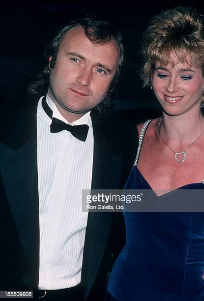 Musician Phil Collins and wife Jill Tavelman attending 58th Annual Academy Awards on March 24 1986 at Dorothy Chandler Pavilion in Los Angeles...