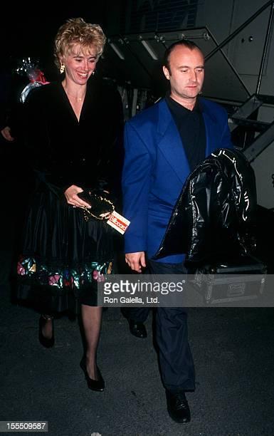 Musician Phil Collins and wife Jill Tavelman attending First Annual Billboard Music Awards on November 26 1990 at Barker Hanger Santa Monica Airport...
