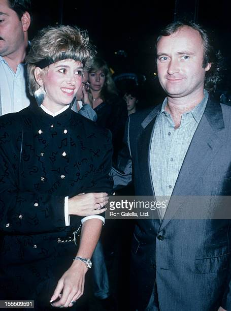 Musician Phil Collins and wife Jill Tavelman being photographed on October 3 1986 at The Water Club in New York City