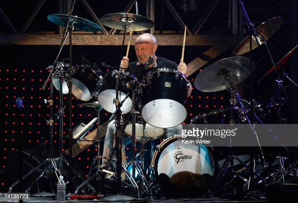Musician Phil Collins from the band Genesis performs onstage during the 2nd annual VH1 Rock Honors held at the Mandalay Bay Events Center on May 12...
