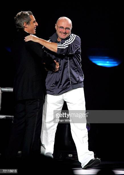 Musician Phil Collins hugs actor Ben Stiller at the 11th annual Andre Agassi Charitable Foundation's Grand Slam benefit concert at the MGM Grand...