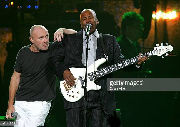 Musician Phil Collins performs with bassist Nathan East at the 11th annual Andre Agassi Charitable Foundation's Grand Slam benefit concert at the MGM...