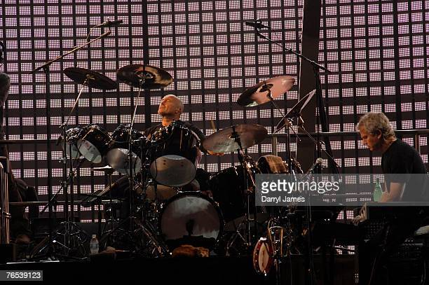 Musician Phil Collins performs with his band Genesis during the dress rehearsal of the 20 city North American leg of their 'Turn It On Again' tour at...