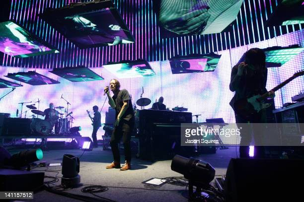 Musician Phil Selway musician Colin Greenwood singer/musician Thom Yorke musician Clive Deamer and singer/musician Jonny Greenwood of Radiohead...