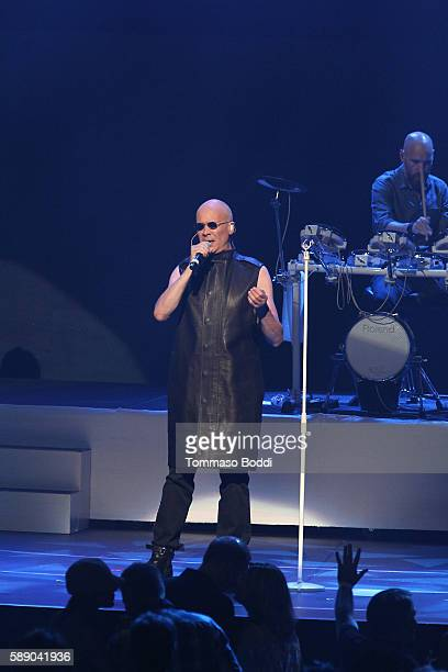 Musician Philip Oakey of The Human League performs on stage at the 80's Weekend held at Microsoft Theater on August 12 2016 in Los Angeles California