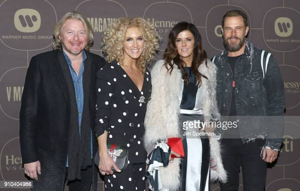 Musician Philip Sweet singers Kimberly Schlapman Karen Fairchild and musician Jimi Westbrook attend the 2018 Warner Music Group Pre Grammy...