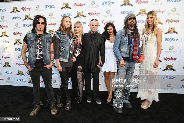 Musician Piggy D musician Ginger Fish model Violet Morphine musician John 5 Rita Lowery musician Rob Zombie and actress Sheri Moon Zombie arrive at...