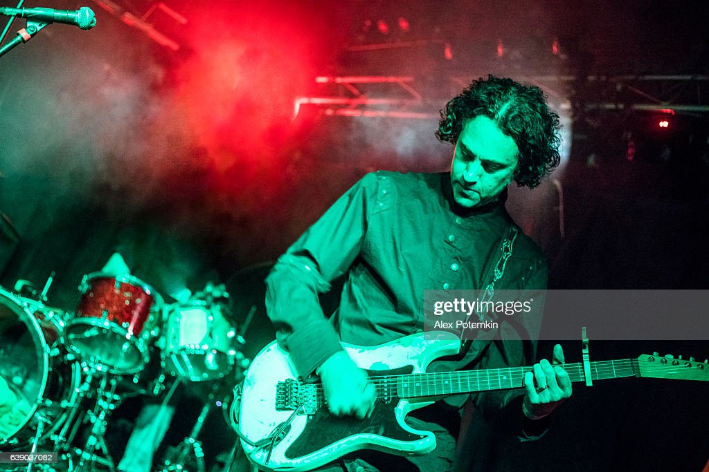 Musician play guitar on the stage in a live performance : Stock Photo