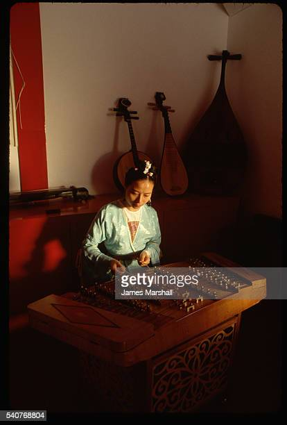 Musician Playing a Chinese Zither