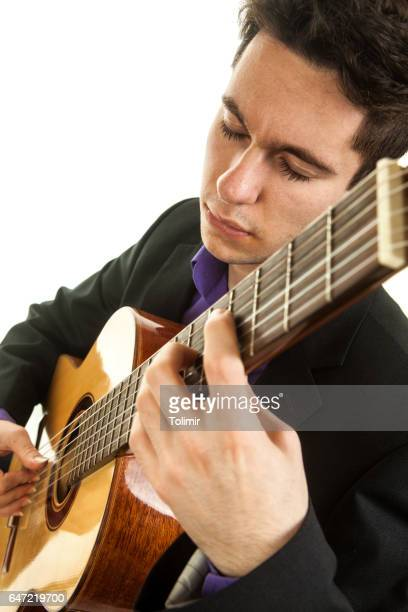 Musician playing classical guitar